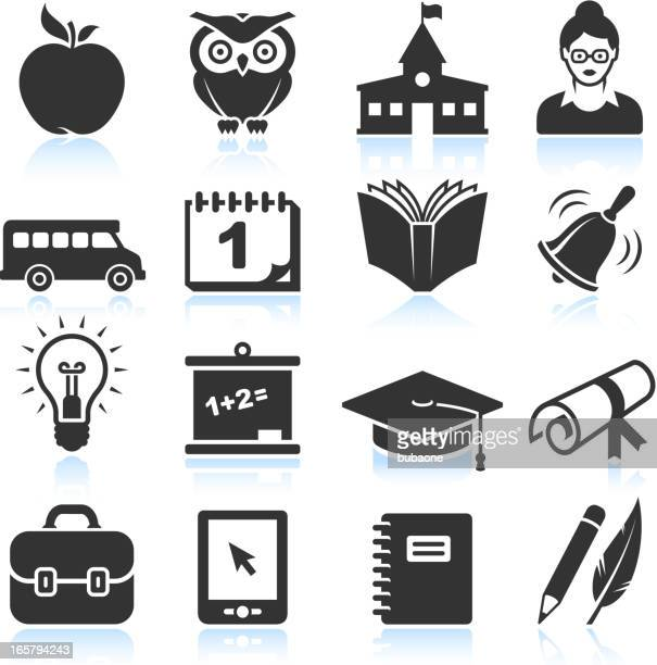 school and education black & white vector icon set
