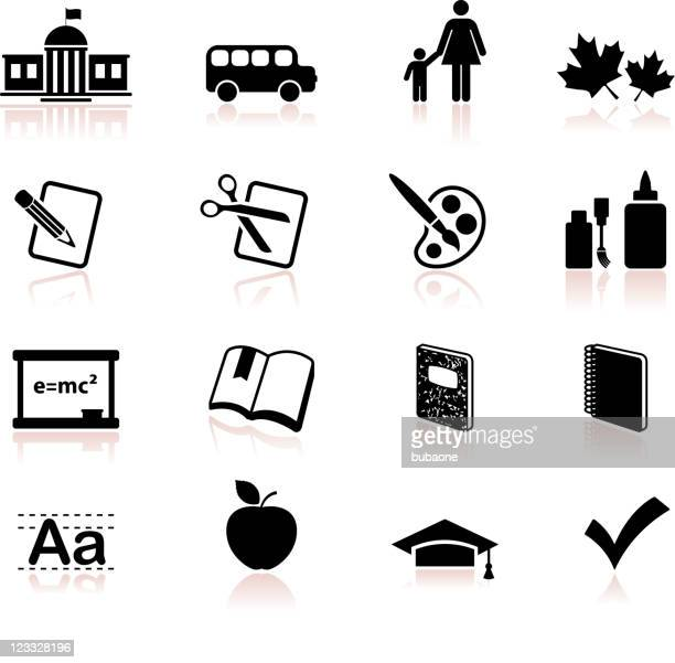 school and education educational black and white vector icon set - correction fluid stock illustrations