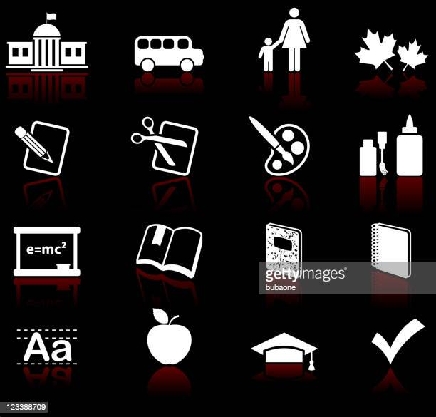 school and education educational royalty free vector icon set - correction fluid stock illustrations