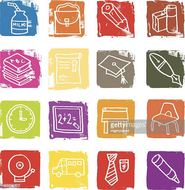 school and education icon blocks - safety equipment stock illustrations, clip art, cartoons, & icons