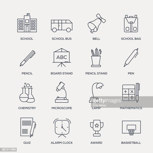ilustraciones, imágenes clip art, dibujos animados e iconos de stock de escuela y educación conjunto de iconos - serie - gradas