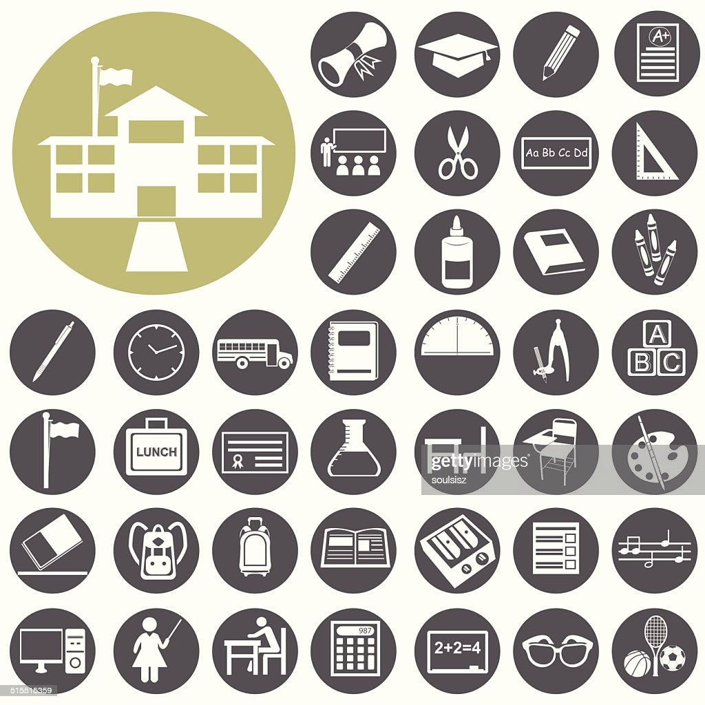 School and Education icons set. Illustration eps10