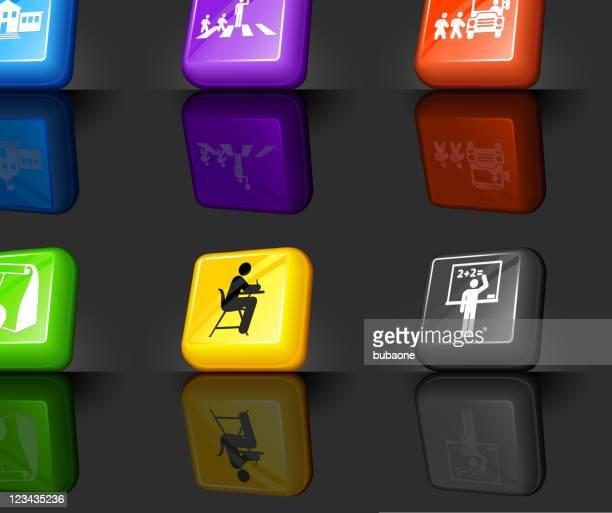 school and education internet royalty free vector icon set - zebra crossing stock illustrations