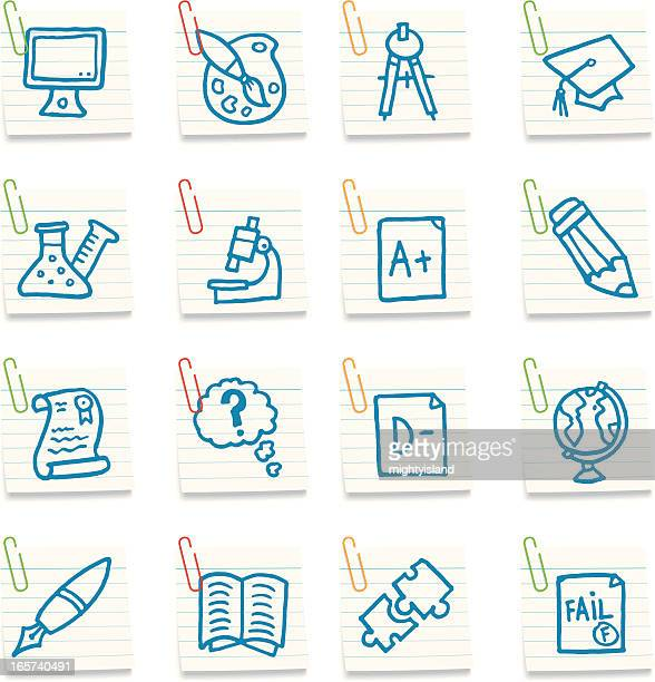 school and education post in note icons - report card stock illustrations