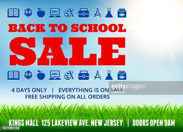 school and education Sale Banner with Outdoors Background