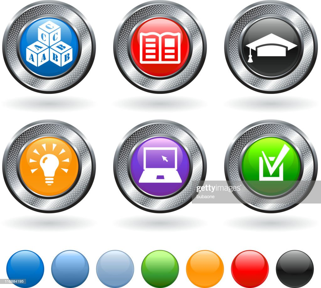 school and education vector icon set on metallic button