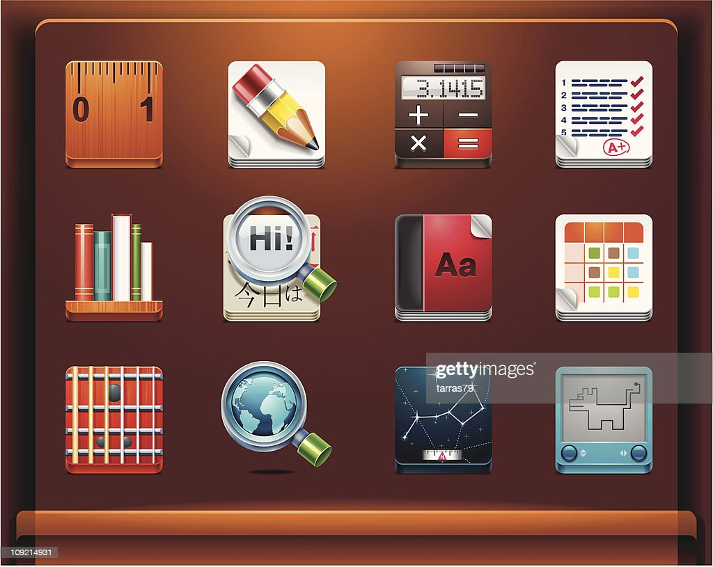 School and educational apps. Mobile devices apps/services icons