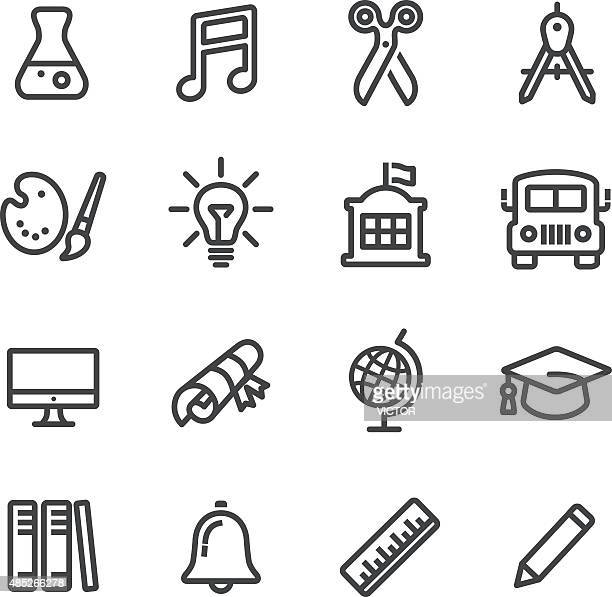 school and subject icons - line series - part of a series stock illustrations