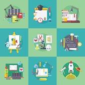 School and university learning disciplines. Vector flat cartoon illustrations set.