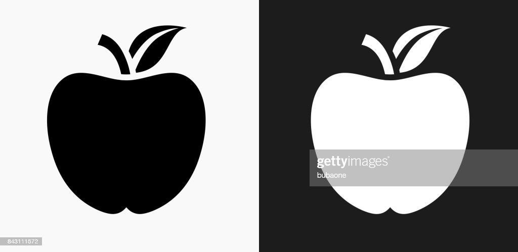 School Apple Icon on Black and White Vector Backgrounds