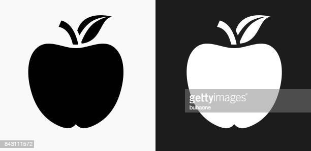 school apple icon on black and white vector backgrounds - juicy stock illustrations, clip art, cartoons, & icons