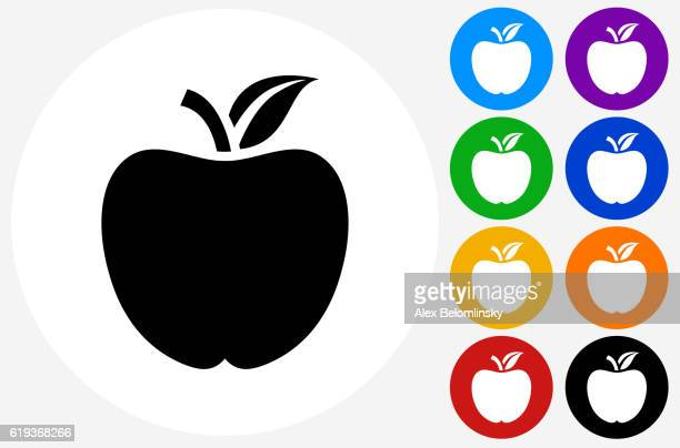 School Apple Icon on Flat Color Circle Buttons