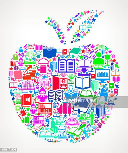 School Apple  Reading Books and Education Vector Icon Background