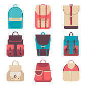 School backpack in a flat style. Kids  on  colored background