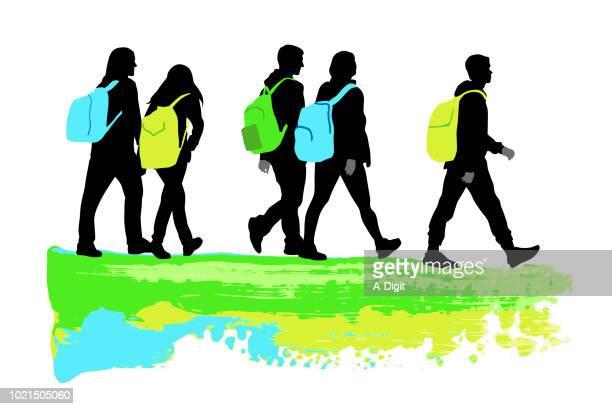 school backpack journey - female friendship stock illustrations