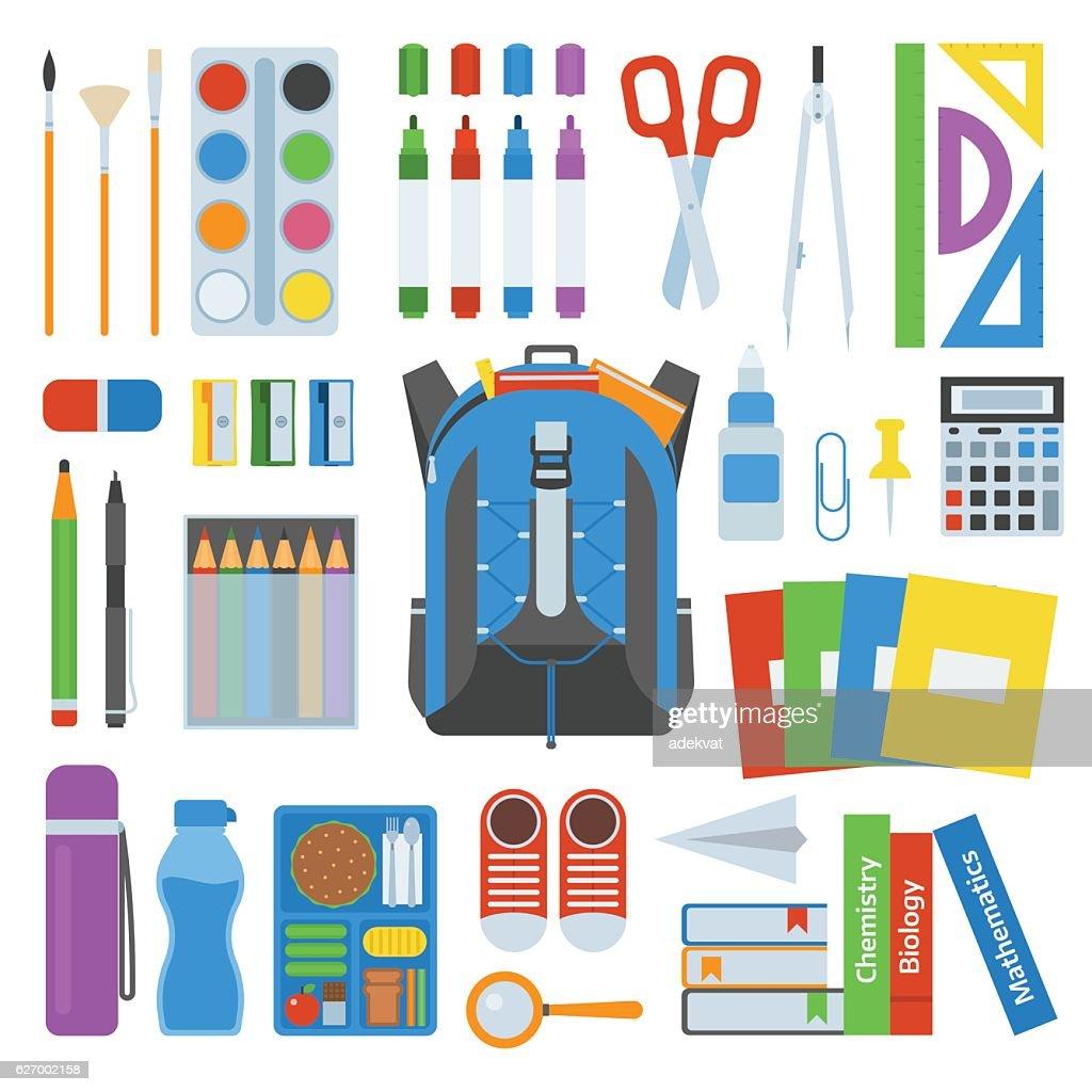 School bag vector set.