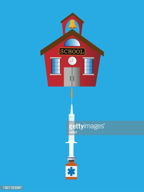 school balancing on vaccine - pathogen transmission stock illustrations