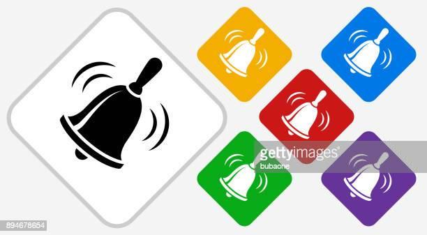 school bell color diamond vector icon - bell stock illustrations