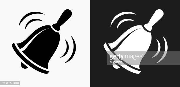 School Bell Icon on Black and White Vector Backgrounds