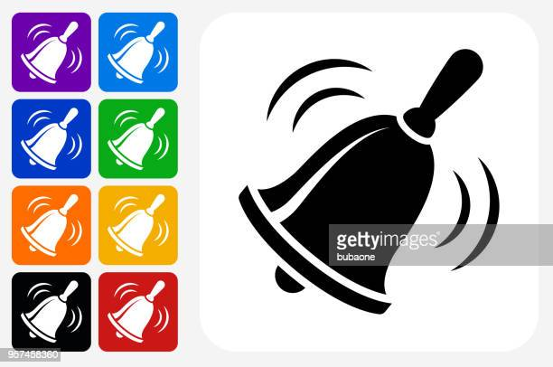 School Bell Icon Square Button Set