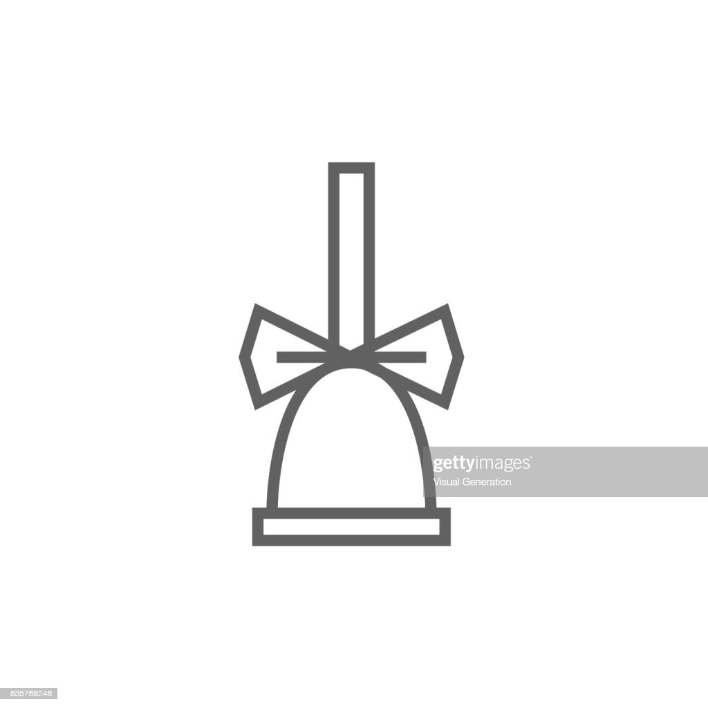 School bell with ribbon line icon