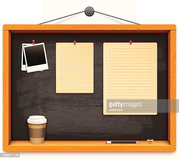 school blackboard with papers pencil and cofee cup