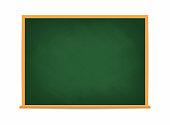 School board. Green blackboard. Dirty school board with traces of chalk isolated on background