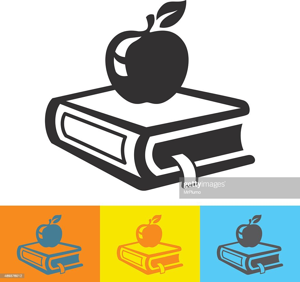 School book with fresh apple icon