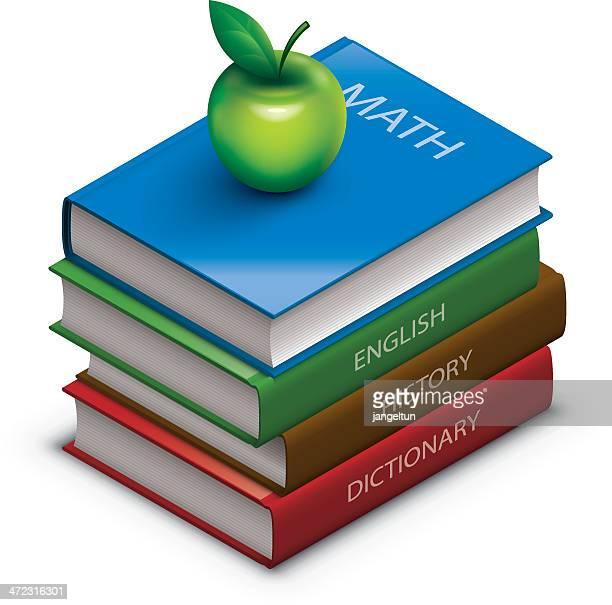 school books - english culture stock illustrations