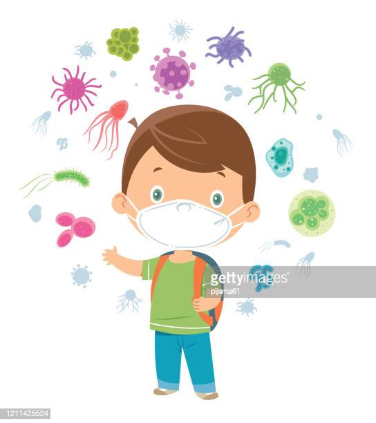 school boy with surgical mask - cartoon cancer stock illustrations