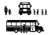 School boys and girls walking to bus stick figure. Mother and children together