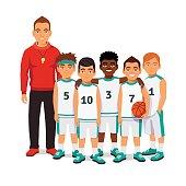 School boys basketball team with their coach