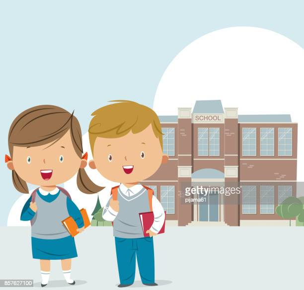school building and kids - school uniform stock illustrations, clip art, cartoons, & icons