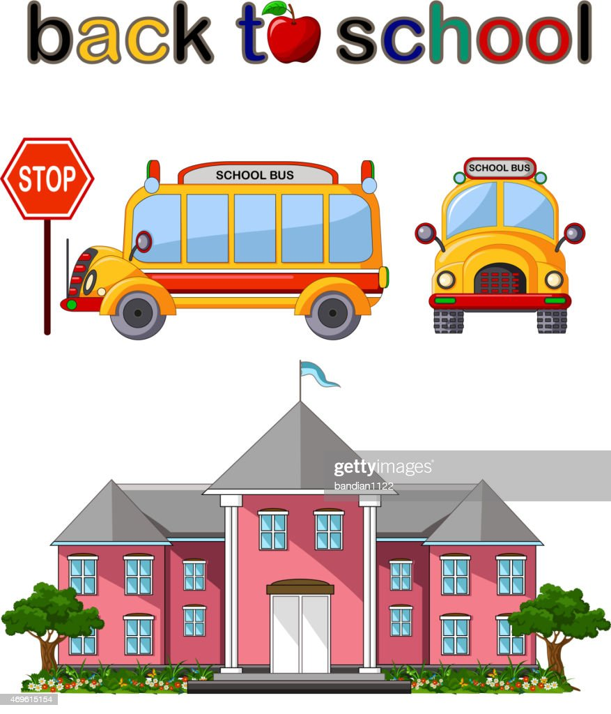 school building and school bus for you design