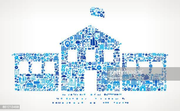 School Building  Construction Industry Vector Icon Pattern
