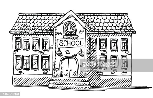 School Building Facade Drawing Vector Art | Getty Images