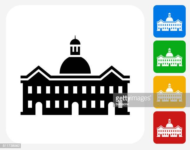 school building icon flat graphic design - town hall stock illustrations
