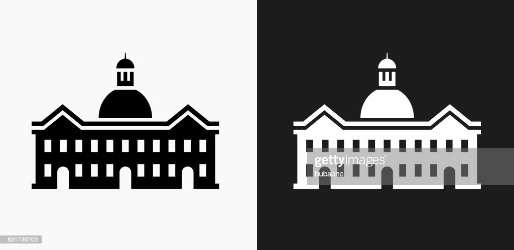 School Building Icon on Black and White Vector Backgrounds