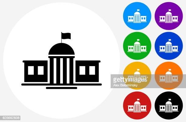 School Building Icon on Flat Color Circle Buttons
