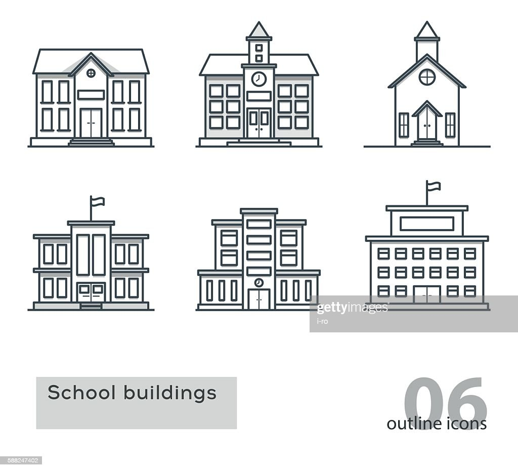 school building icons. Outline vector illustration.