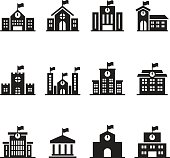 School building icons set