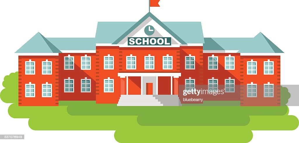 School building in flat style