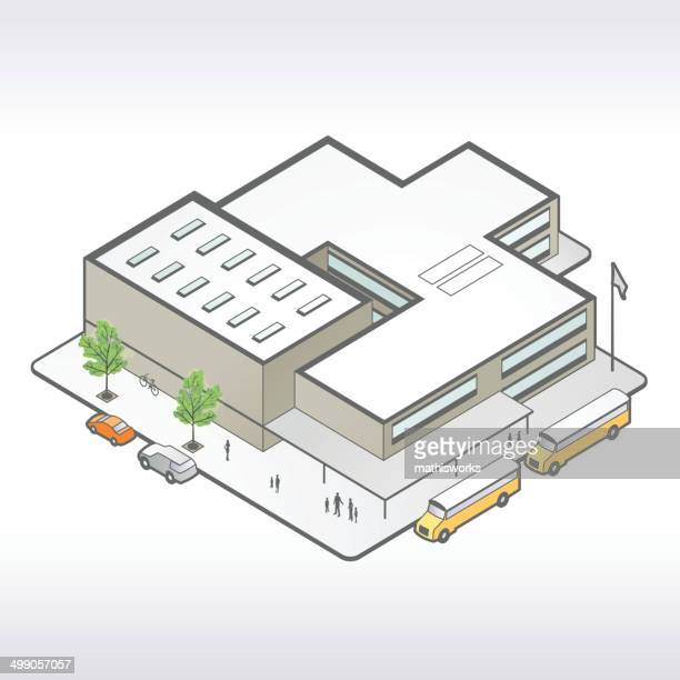 school building isometric illustration - mathisworks stock illustrations