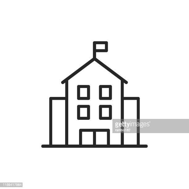 stockillustraties, clipart, cartoons en iconen met school gebouw lijn icoon. bewerkbare lijn. pixel perfect. voor mobiel en web. - onderwijs