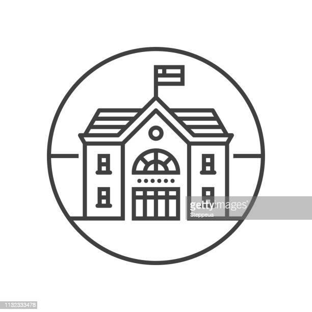 School building line icon