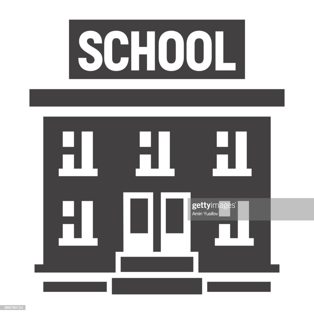 School building solid icon, Education and architecture, vector graphics, a filled pattern on a white background, eps 10.