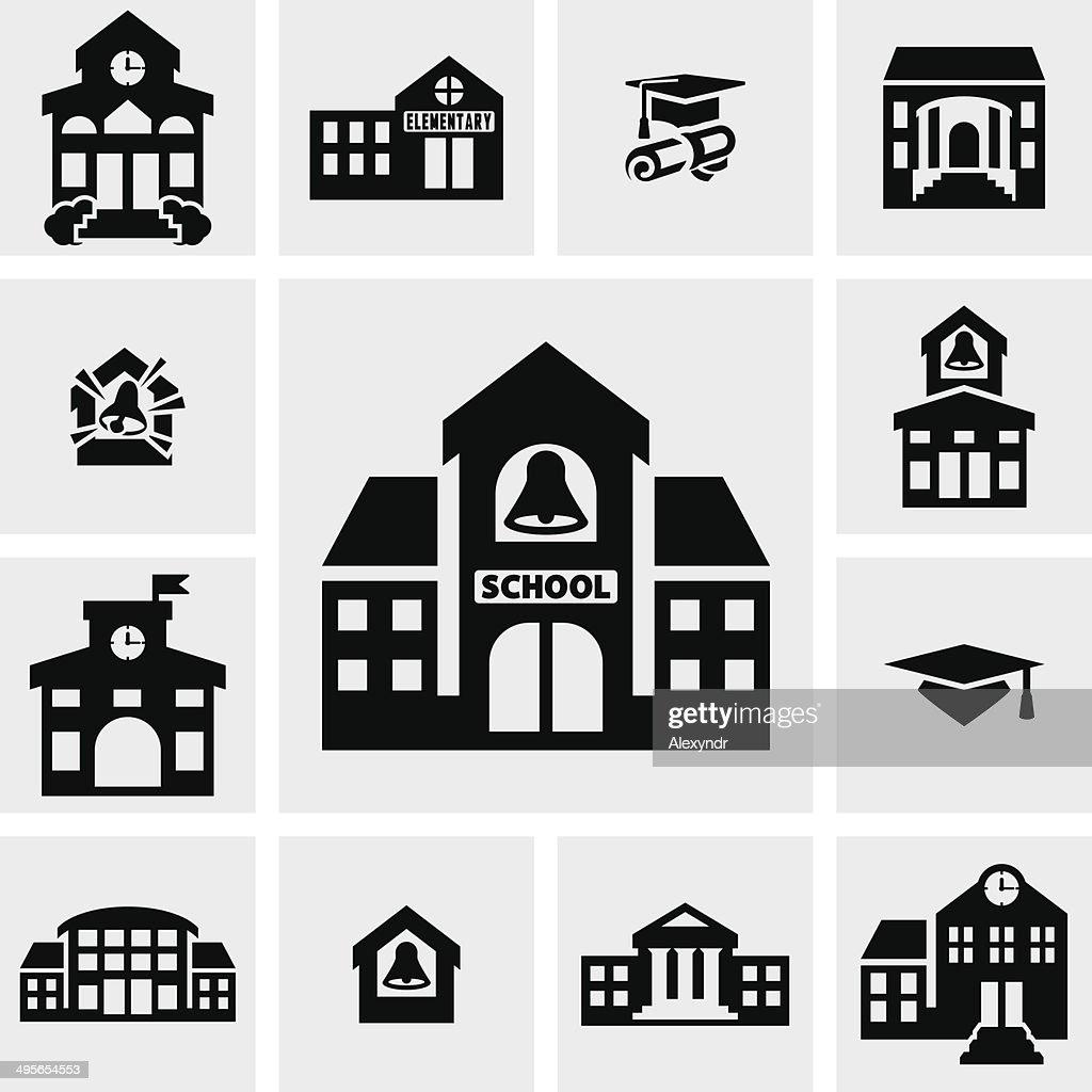 School building vector icons set on gray