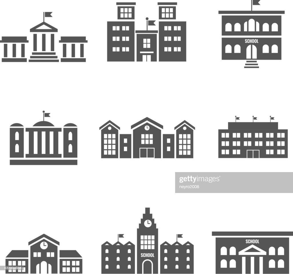 School building vector icons
