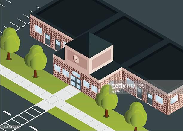 ilustraciones, imágenes clip art, dibujos animados e iconos de stock de edificio escolar - edificio de escuela primaria