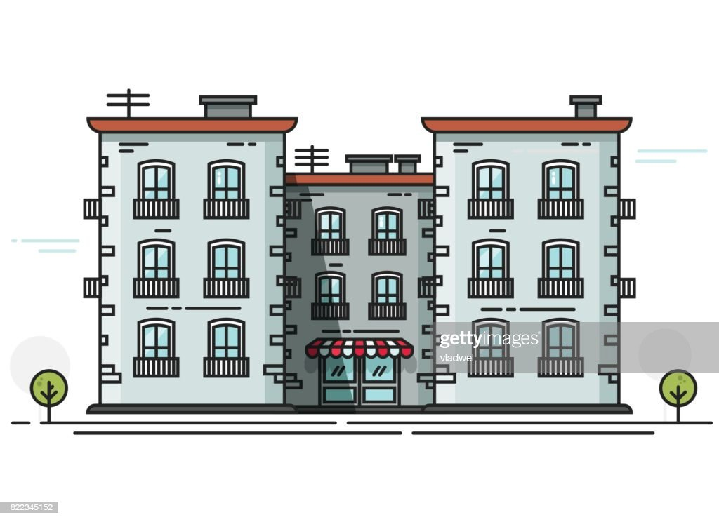 School building vector illustration front view, flat cartoon schoolhouse idea, campus constructions line outline isolated